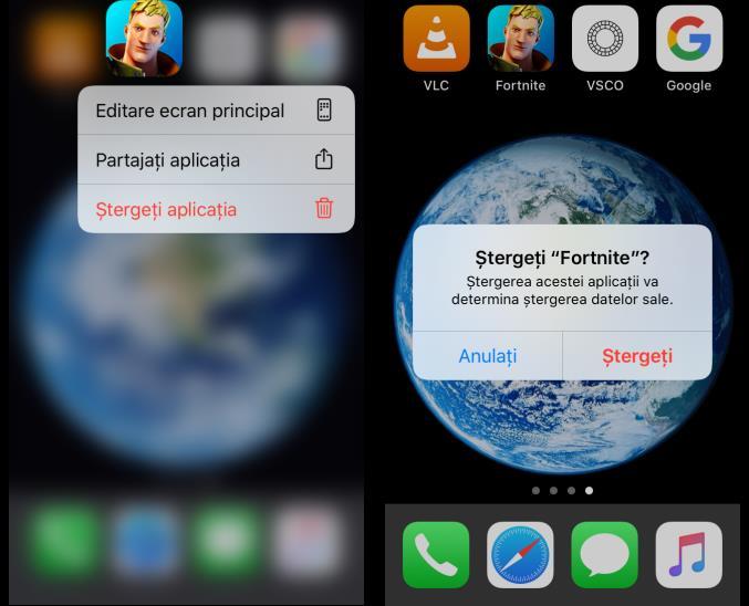 Dezinstalare aplicații iPhone de pe ecran