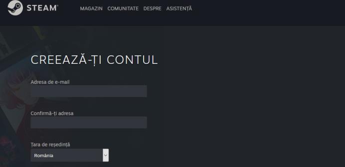 Creare cont Steam
