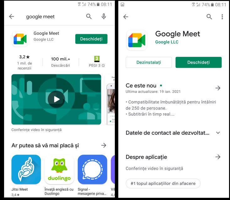 Actualizare Google Meet pe Android