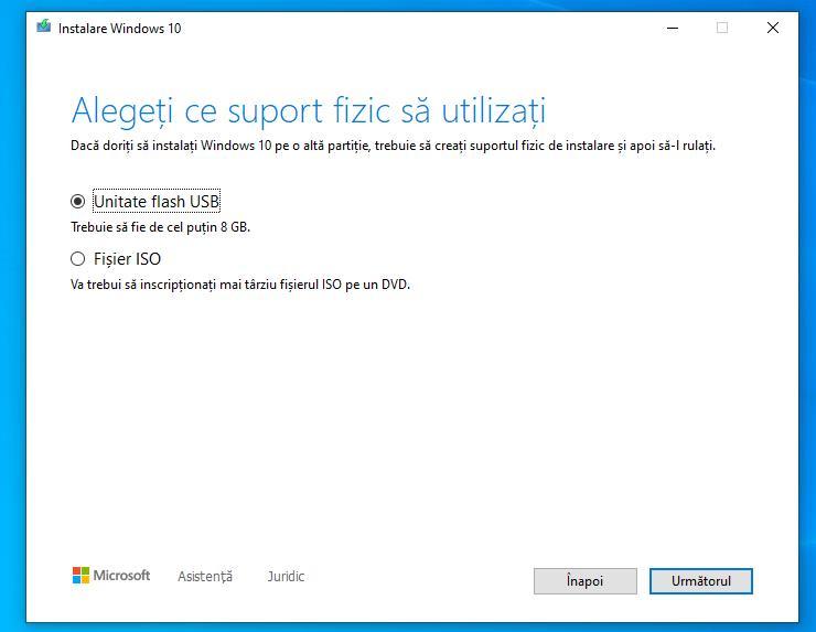 Descarcă Windows 10 pe stick