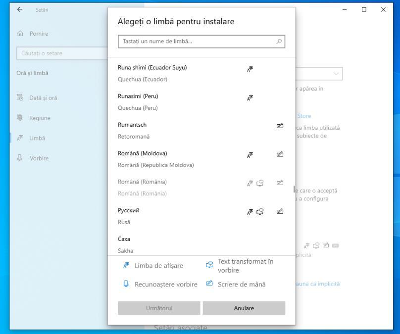 Limba din Windows 10