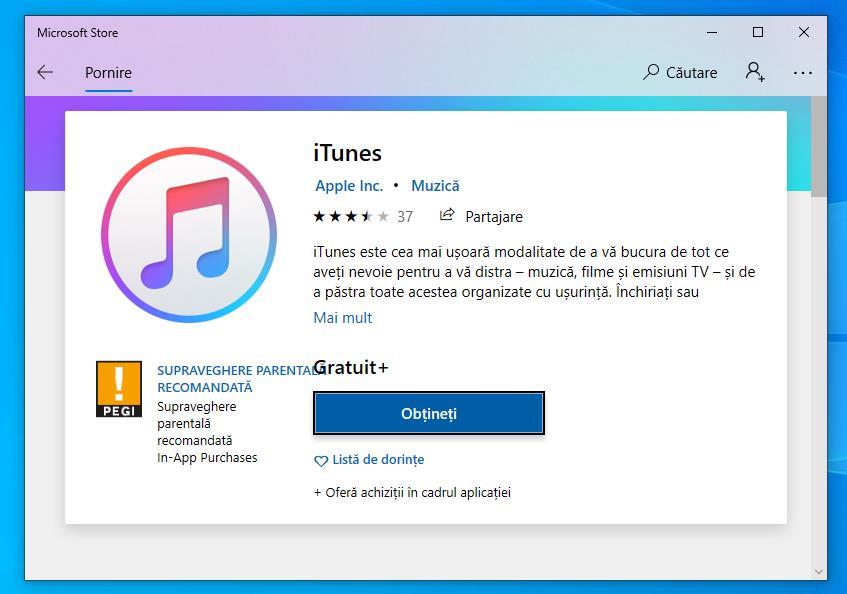Descarcă iTunes pentru Windows 10