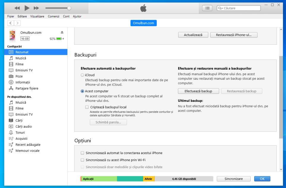 Restaureaza iPhone din iTunes