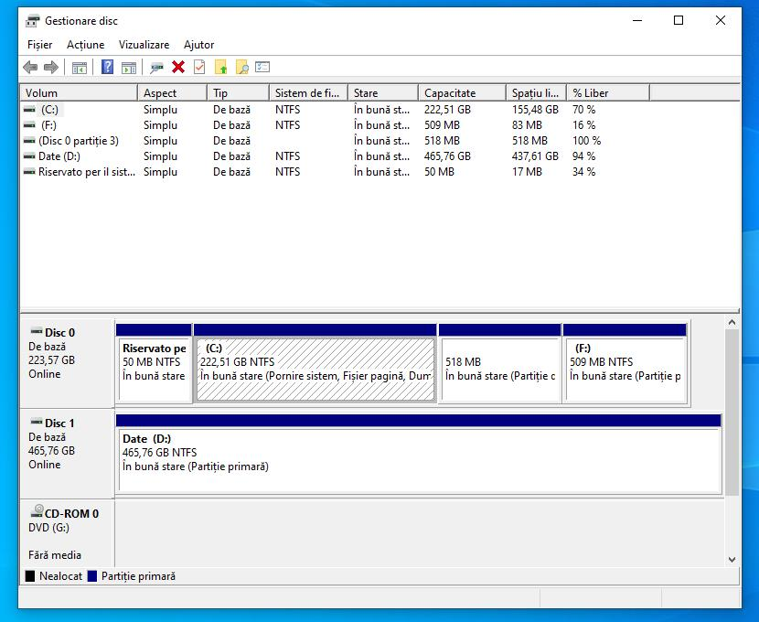 Partiționare hard disk Windows 10