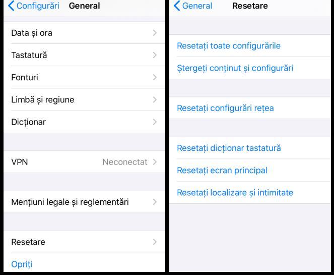 Resetare iPhone din setări iOS