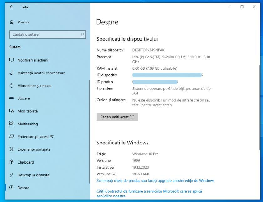 versiune Windows 10