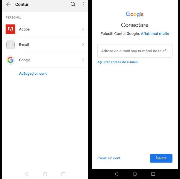 Adăugare cont Google pe telefon Android