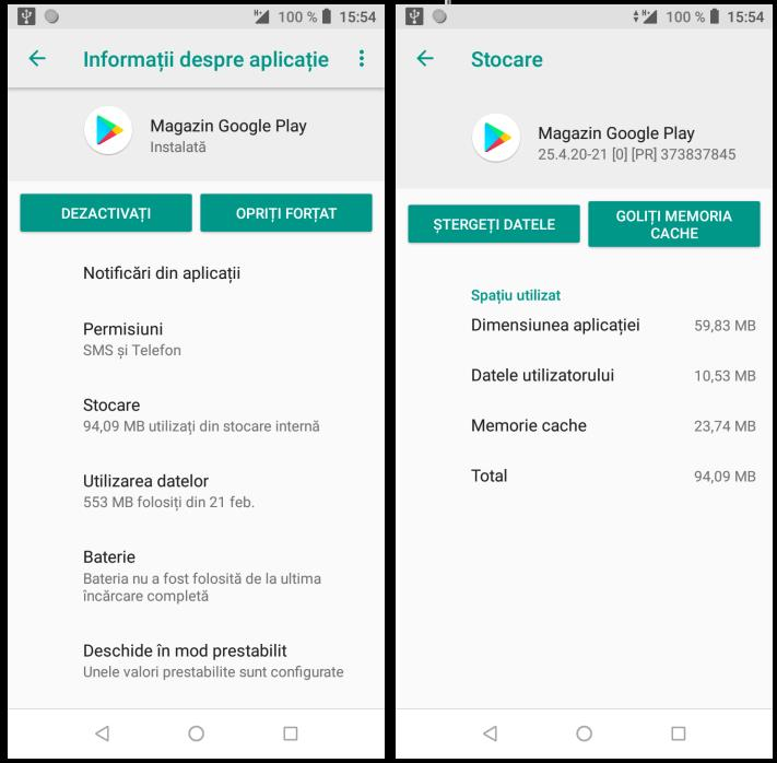Probleme cu actualizarea Google Play
