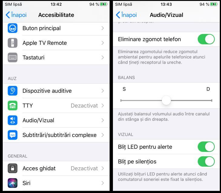 Activare lumina la notificari iPhone