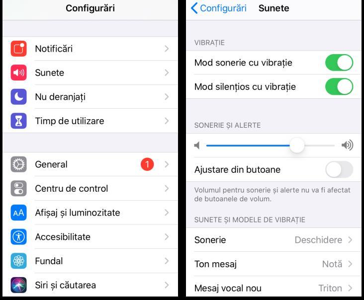 Configurări pentru vibrare iPhone
