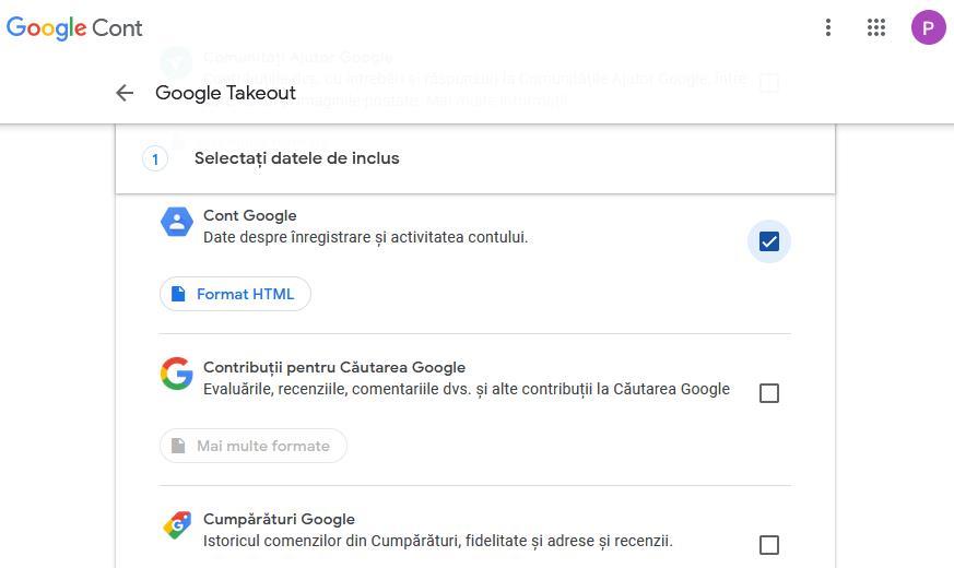 Backup datele Google