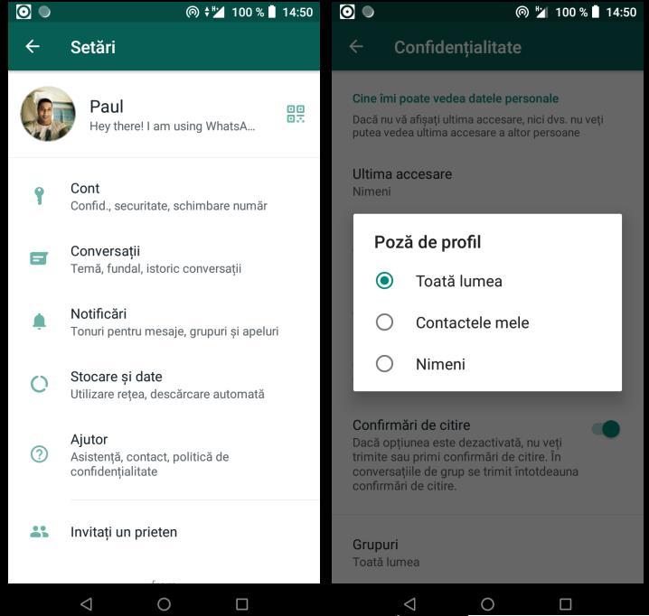 Profilul WhatsApp pe Android