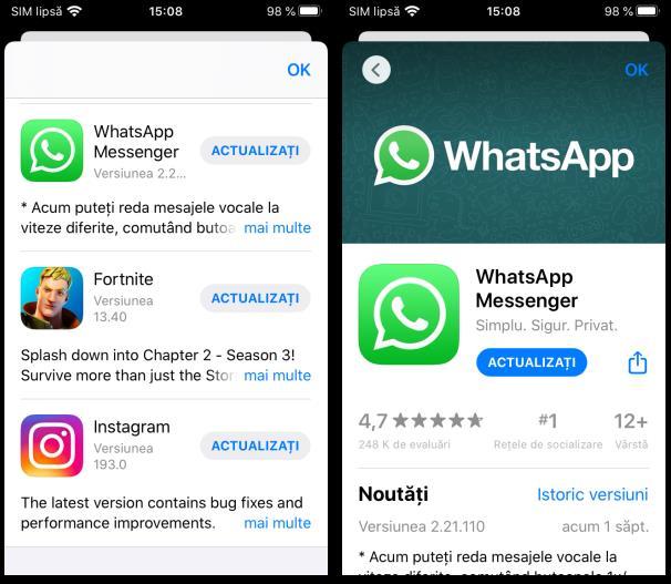 Actualizare WhatsApp manual