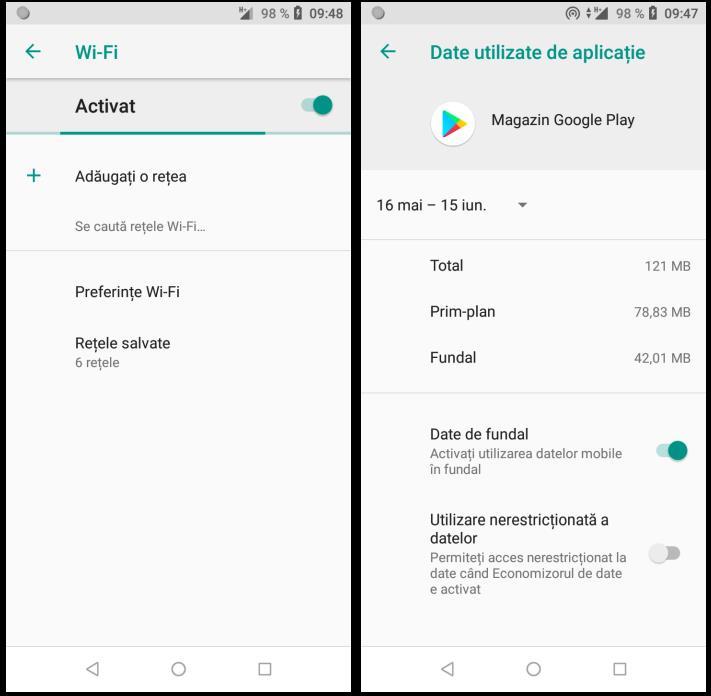 Activare WiFi și datele de fundal
