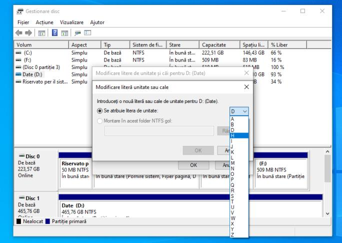 Gestionare disc Windows 10