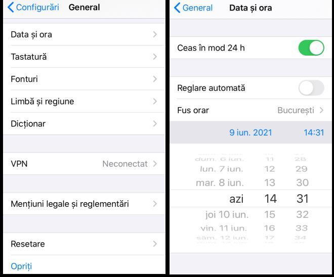 Setare data manual pe iPhone