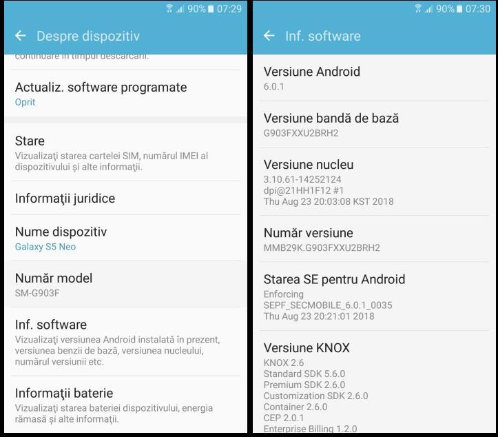 Ce versiune de Android am pe Samsung