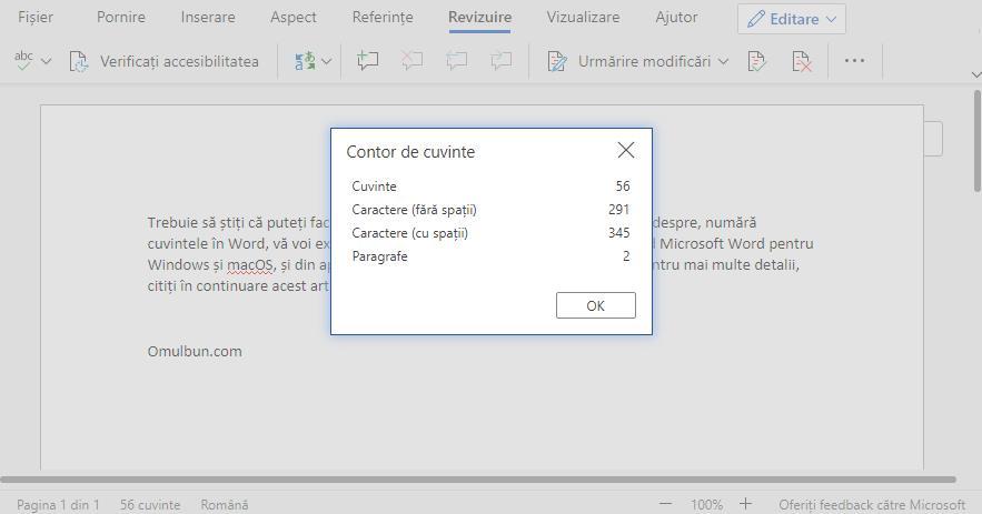 Numără cuvintele în Microsoft Word