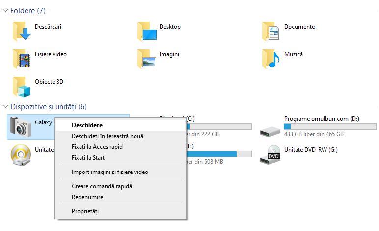 Descărcare poze de pe telefon Samsung pe PC cu Windows 10