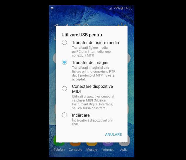 Descărcare poze de pe telefon Samsung prin cablu
