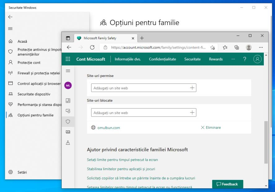 Blocare site-uri Windows 10 cu funcția Opțiuni pentru familie