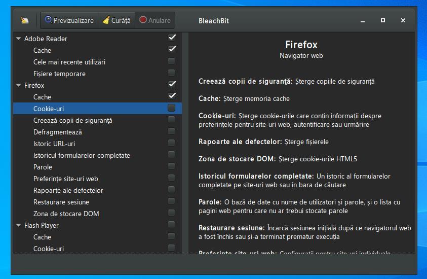 Program de golit memoria cache în Windows 10