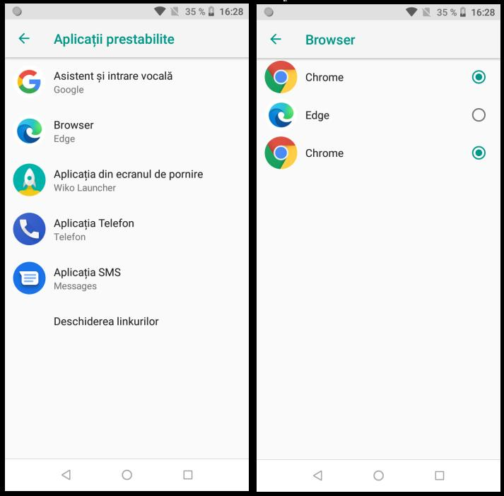Browserul implicit pe Android