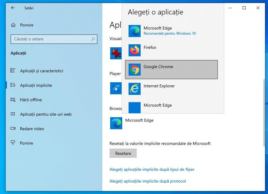 Windows 10 browserul implicit