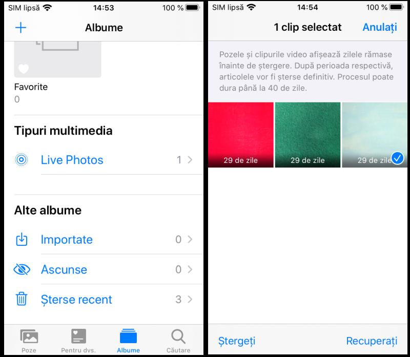 Aplicația Poze din iOS