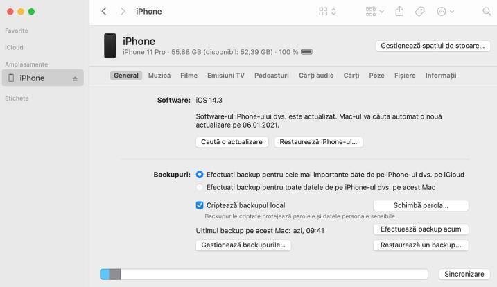 Restaurare din backup cu iTunes