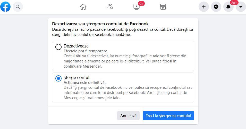Link ștergere definitivă cont Facebook