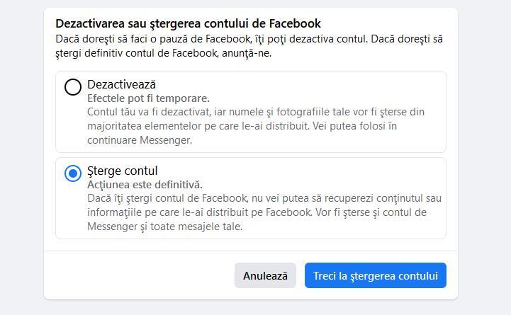 Ștergere cont Facebook definitiv de pe telefon sau PC
