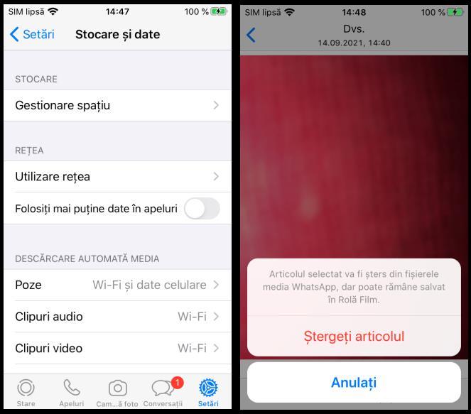 Eliberareea memoriei pe iPhone cu WhatsApp
